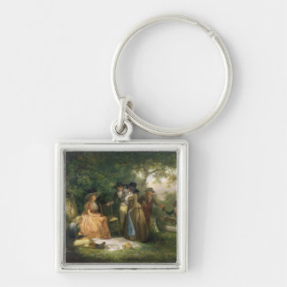The Angler's Repast (oil on canvas) Silver-Colored Square Key Ring