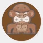 The Angry Donkey Monkey - Customisable Background Round Sticker