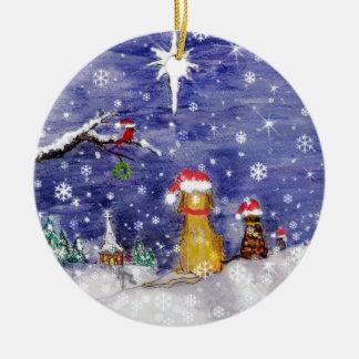 The Animals Christmas Even Watercolor Art Christmas Ornament