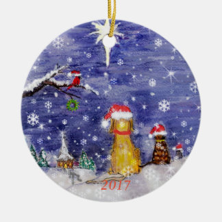The Animals' Christmas Watercolor 2017 Christmas Ornament
