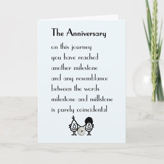 Funny Wedding Anniversary: A Funny Wedding Anniversary Poem Card