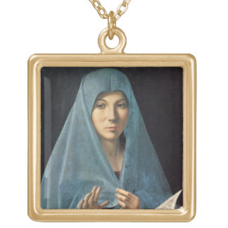 The Annunciation, 1474-75 (oil on panel) Square Pendant Necklace