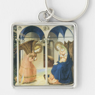 The Annunciation by Fra Angelico Silver-Colored Square Key Ring