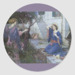 The Annunciation by JW Waterhouse, Vintage Art Stickers