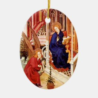 The Annunciation by Melchior Broederlam Christmas Christmas Ornament