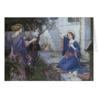 The Annunciation by Waterhouse, Christmas Angels Greeting Card