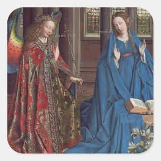 The Annunciation, c. 1434- 36 (oil on canvas) Square Sticker