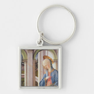 The Annunciation, detail of the Virgin Mary Silver-Colored Square Key Ring