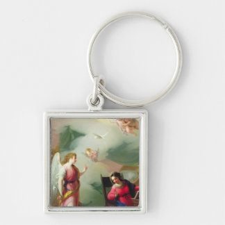 The Annunciation Silver-Colored Square Key Ring