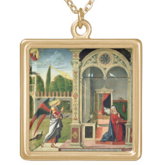 The Annunciation (oil on panel) 2 Custom Necklace