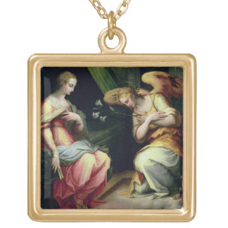 The Annunciation (oil on panel) 3 Gold Plated Necklace