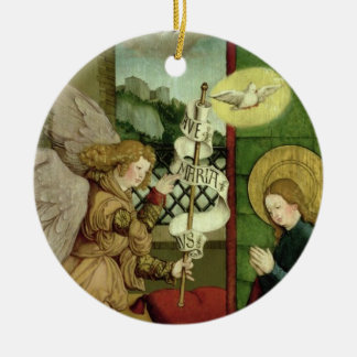 The Annunciation (oil on panel) Christmas Ornament