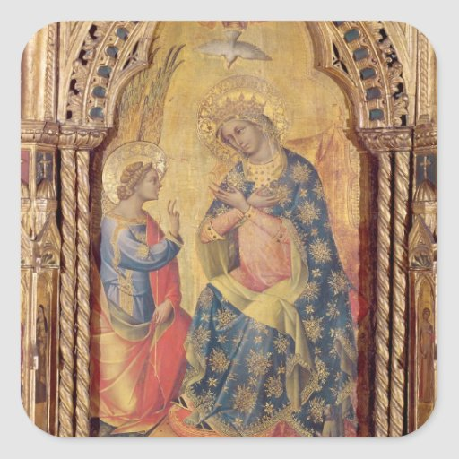 The Annunciation (part of polyptych) (oil on panel Sticker