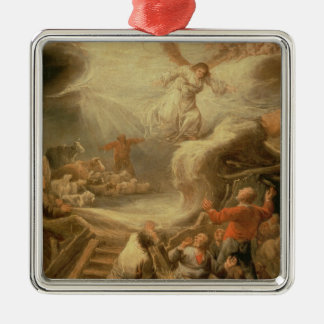The Annunciation to the Shepherds Silver-Colored Square Decoration