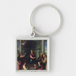 The Annunciation with Saints, 1515 Silver-Colored Square Key Ring