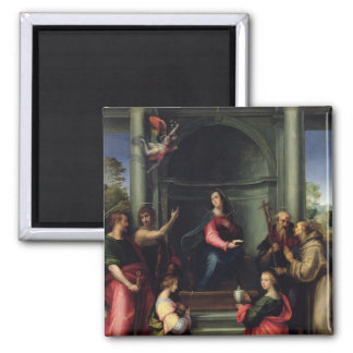 The Annunciation with Saints, 1515 Square Magnet