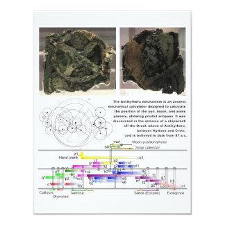 The Antikythera Mechanism Diagram Chart 11 Cm X 14 Cm Invitation Card