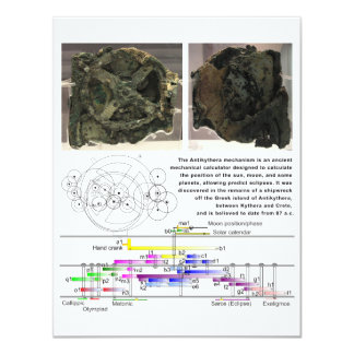 The Antikythera Mechanism Diagram Chart Card