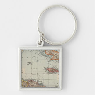 The Antilles Silver-Colored Square Key Ring