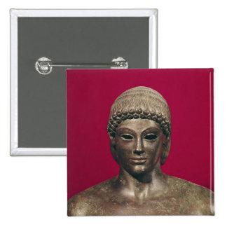 The Apollo of Piombino, head of the statue, found 15 Cm Square Badge