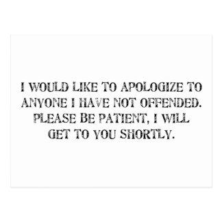 the apology postcard