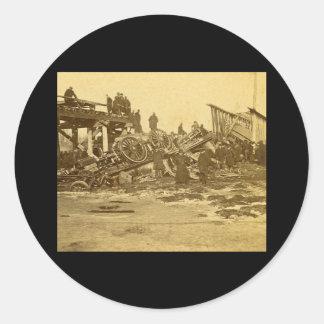 The Appalling Accident at Farmington River (Sepia) Round Sticker