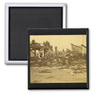 The Appalling Accident at Farmington River (Sepia) Square Magnet