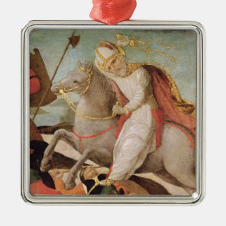The Apparition of St. Ambrose Silver-Colored Square Decoration