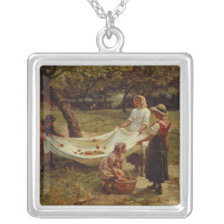 The Apple Gatherers, 1880 Silver Plated Necklace
