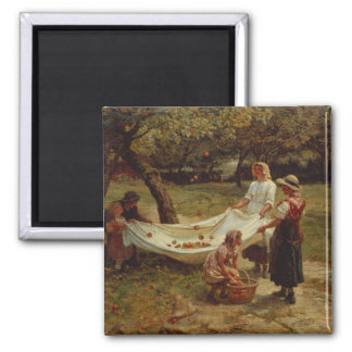 The Apple Gatherers, 1880 Square Magnet