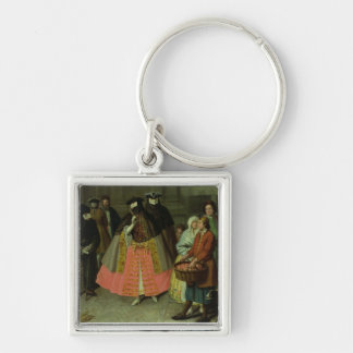 The Apple Seller (oil on canvas) Silver-Colored Square Key Ring