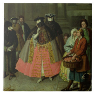 The Apple Seller (oil on canvas) Tile