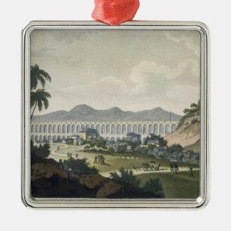 The aqueduct in Rio de Janeiro (colour engraving) Christmas Ornament