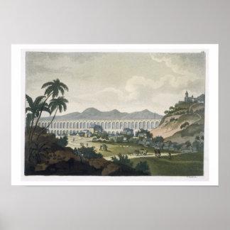 The aqueduct in Rio de Janeiro (colour engraving) Poster