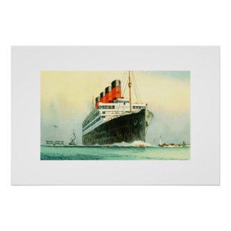 THE AQUITANIA CUNARD WHITE STAR LINE SHIP POSTER