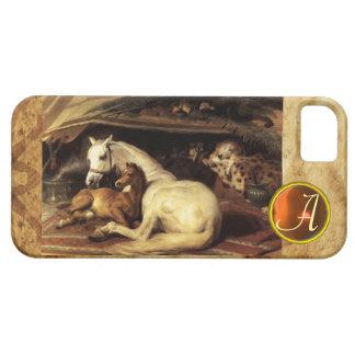 THE ARAB TENT WITH HORSE Orange Agate Gem Monogram iPhone 5 Cover