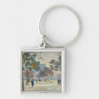 The Arc de Triomphe in Autumn, Paris Silver-Colored Square Key Ring
