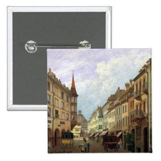 The Arcades, Grand Rue, Colmar, 1876 15 Cm Square Badge