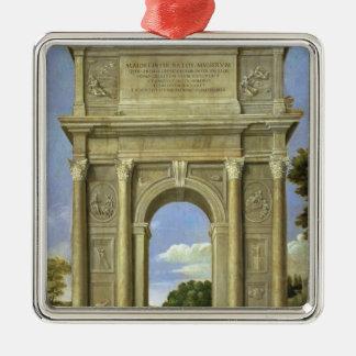 The Arch of Triumph Silver-Colored Square Decoration