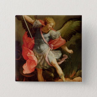The Archangel Michael defeating Satan 15 Cm Square Badge