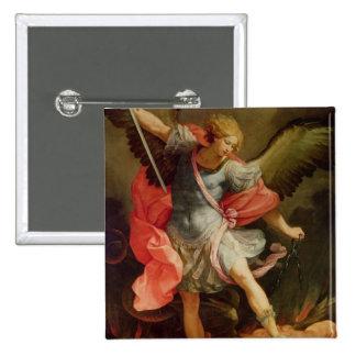 The Archangel Michael defeating Satan 15 Cm Square Badge