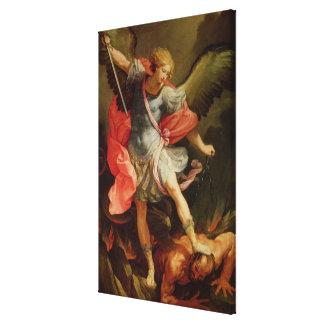 The Archangel Michael defeating Satan Gallery Wrap Canvas