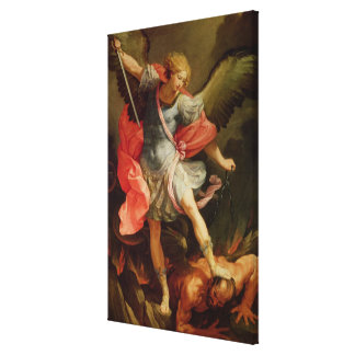 The Archangel Michael defeating Satan Gallery Wrap Canvas
