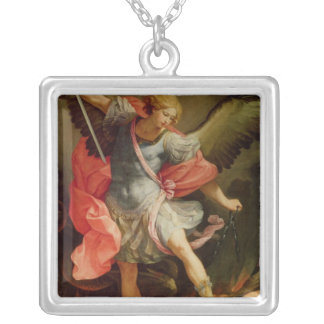 The Archangel Michael defeating Satan Silver Plated Necklace