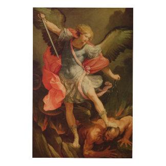 The Archangel Michael defeating Satan Wood Print