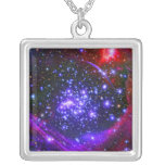 The Arches star cluster deep inside the hub Square Pendant Necklace
