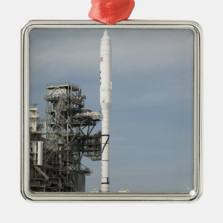 The Ares I-X rocket is seen on the launch pad Silver-Colored Square Decoration
