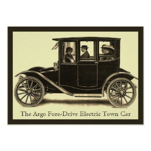 The Argo Fore-Drive Electric Town Car ~ Vintage Print