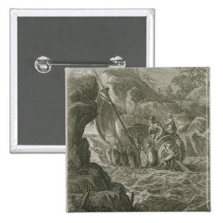 The Argonauts Pass the Symplegades (engraving) 15 Cm Square Badge
