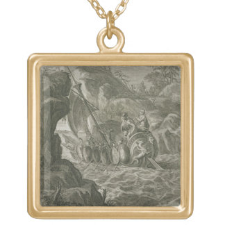 The Argonauts Pass the Symplegades (engraving) Gold Plated Necklace